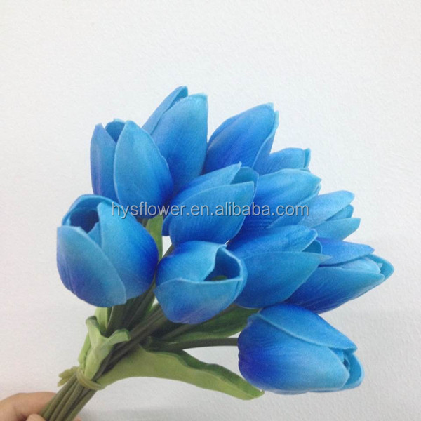 Real Touch Wedding Bouquet Pu Royal Blue Tulip