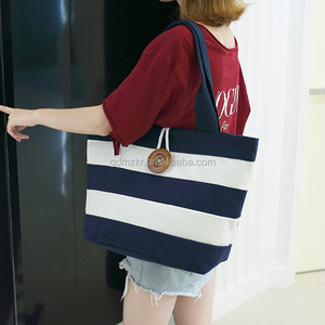 00eb081725df factory direct sales black white wide stripes canvas bag with button clsoed  for school/shopping