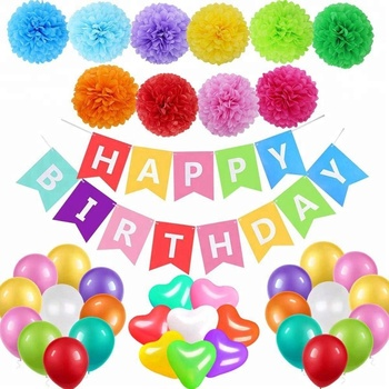 Happy Birthday Decorations Party Supplies Banner Sign Colorful Balloons Rainbow Tissue Paper Pompom For