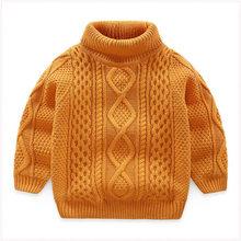 Детские свитера с флисом, утепленный хлопковый свитер с высоким воротником для мальчиков и девочек новогодний красный свитер(Китай)