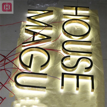 Backlit Stainless Steel House Numbers Signage Led Acrylic Light Up Metal Letters Sign Letter
