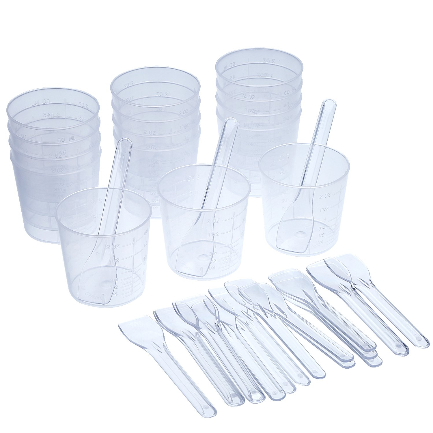 Shappy 15 Pieces 2 OZ Graduated Plastic Cups and 20 Pieces Plastic Applicators/Sticks for Mixing Paint, Stain, Epoxy, Resin