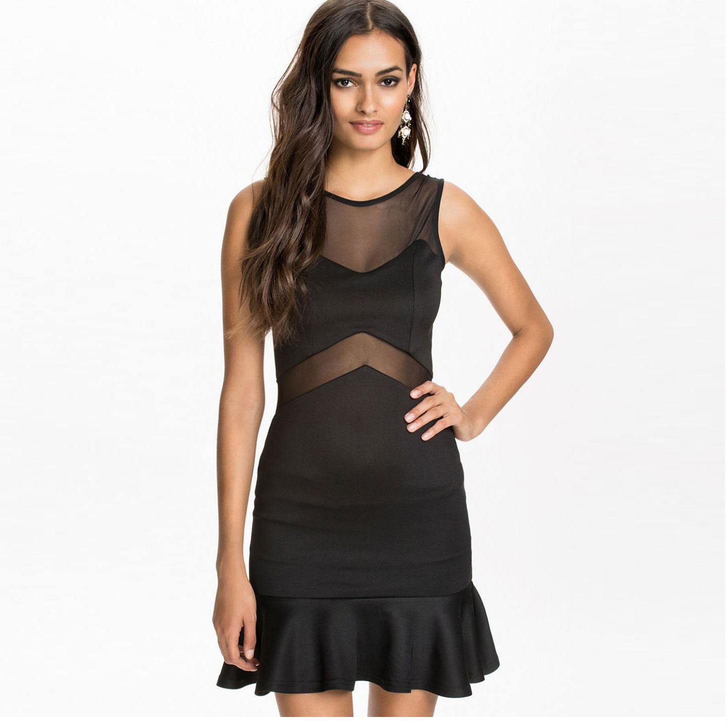 ba5cf859e472 Get Quotations · Summer Womens Clothing Sexy Dresses Party Night Club Black  Lace Skater Dress With Mesh Casual Vestido