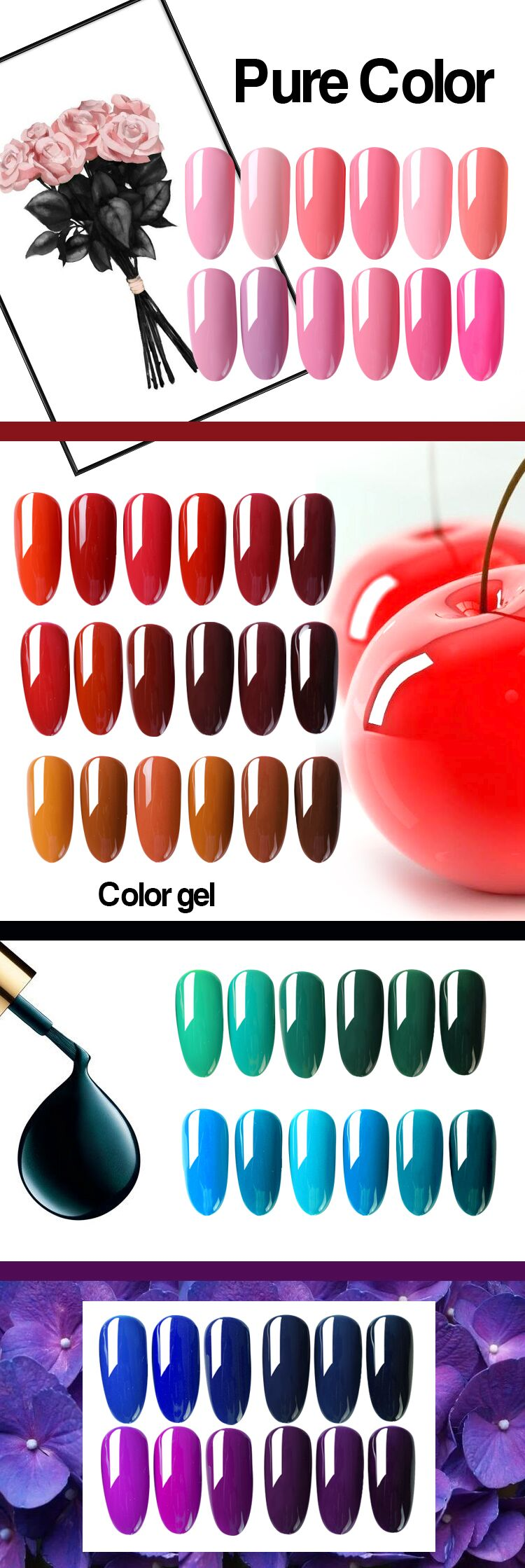 EA 12ml uv gel nail polish color gel for natural nails