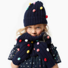 GRIL'S 70/30 NYLON/WOOL KNITTED HAT SCARF GLOVE SETS WITH COLOR DOTS