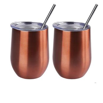 12oz Double-insulated Wine Stainless Steel Tumbler Cup with Lids and Straws for Wine Coffee Drinks Champagne Cocktails