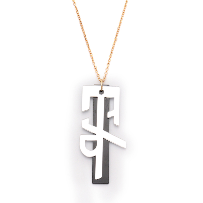 Gold Long Chain Acrylic Letters Initial Charm Necklace