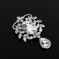 Newest Trendy Vintage Model Fancy Pure Sparkling Clear Crystal Rhinestone Brooch for Dress