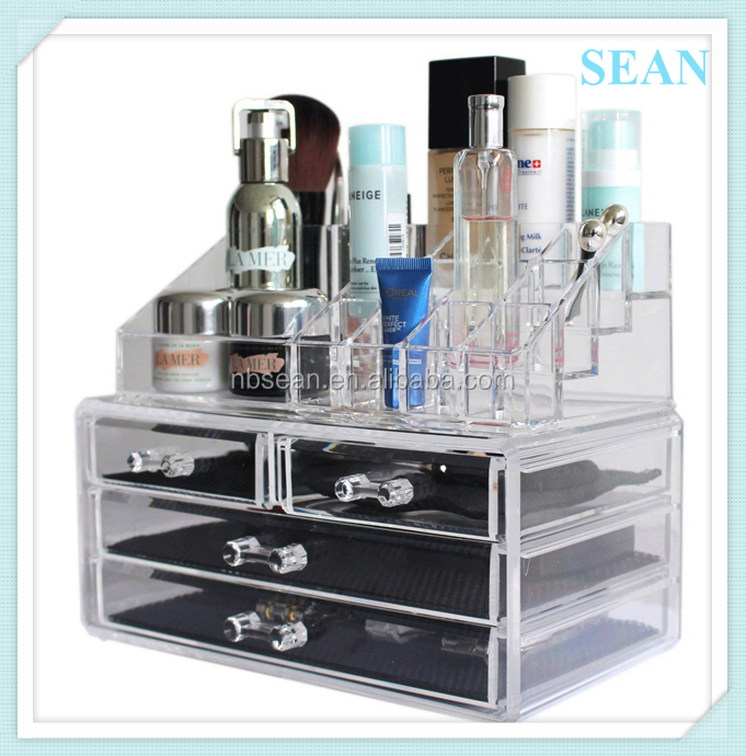 Custom printing acrylic clear makeup organizers with drawer
