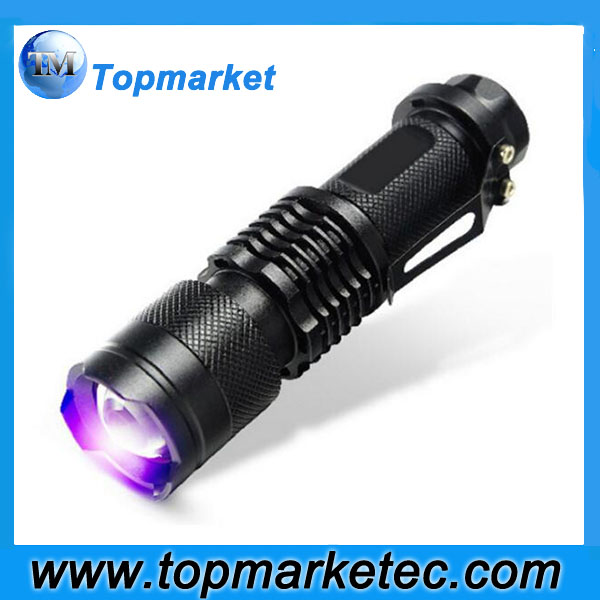 Mini Aluminum Portable UV Flashlight SK68 Purple Violet Light UV 395nm torch Lamp 600LM Adjustable Focus 3 Modes Light Lamp