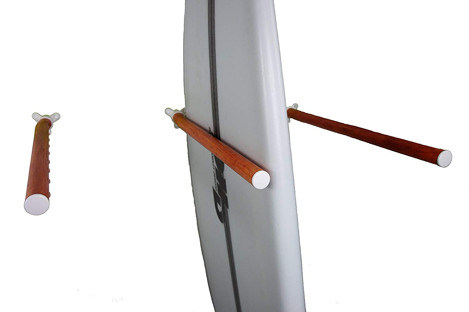 Faux Wood Wall Rack for Surfboards, Snowboards, Wakeboards & Skis (Single Bar)