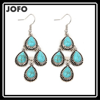Gold And Silver Drop Blue Turquoise Stone Earrings Water Prop Shapes Stud Earring