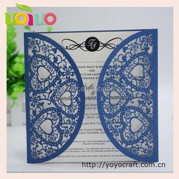 Royal Blue Pearl Light Paper Laser Cut Bengali Wedding Invitation Card