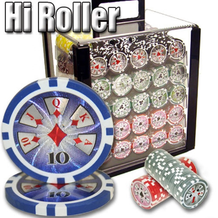 Hi-Roller Casino Sticker ABS Poker Chip Set met Acryl Case-1000 stuk