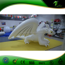 Durable and Shiny Inflatable White Toothless , TPU Material Customized Inflatable Lying Animals For Party