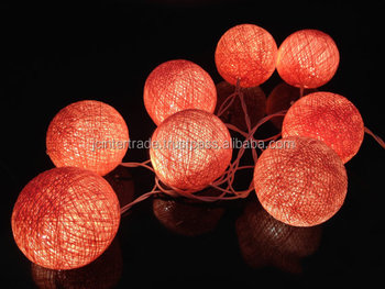 20 bulbs handmade light coral cotton ball string lights for patioweddingparty and
