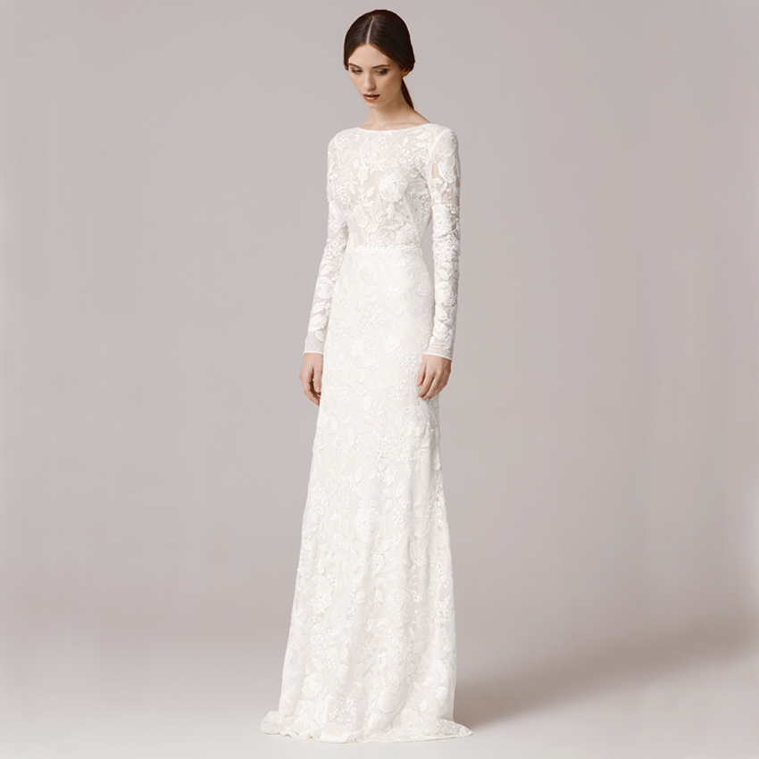Sapphire Bridal Vintage Wedding Dress 3 4 Sleeve White: Vnaix FW1252 Vintage Lace Long Sleeve Sheath Wedding Dress