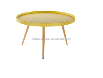 modern wood mdf tray table bright color 3 legs round tray coffee table short - Color Tray
