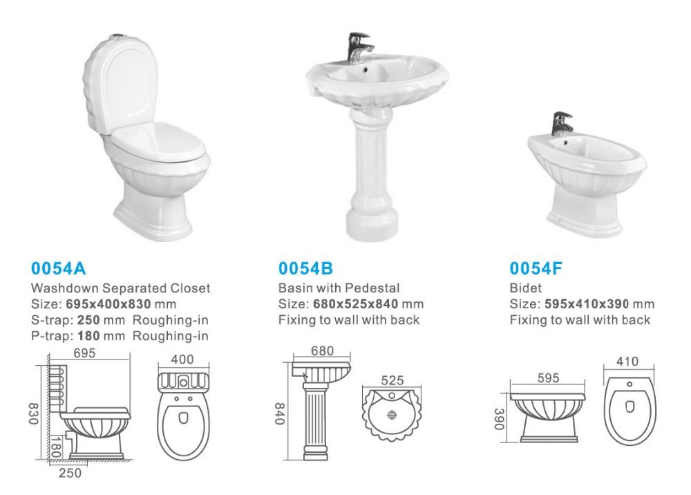 Sanitaires Deux Pieces Toilettes Piedestal Bassin Bidet Toilettes