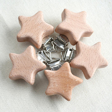 OEM ODM High Quality Natural custom Unfinished star shape wooden Baby Pacifier Dummy Holder Clip