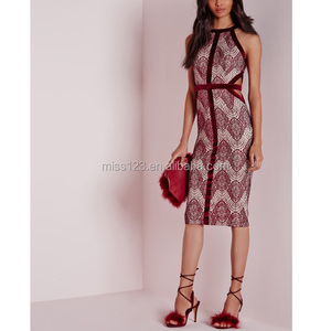 Elegant Velvet Binding Lace Burgundy Midi Evening Cocktail Dress