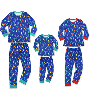 Europe and the United States Christmas colored printing pajamas for familly