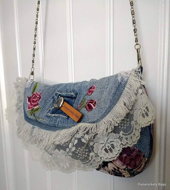 b9ed8bb7f37 Get Quotations · Denim Shoulder Bag - Denim Clutch - Jeans Bag - Recycled Jean  Purse - Upcycled Denim