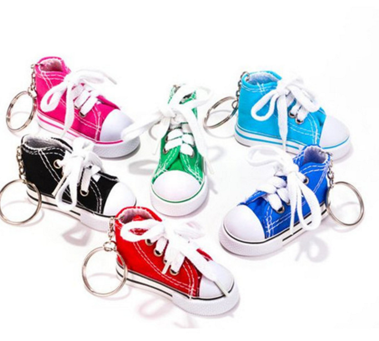Fashion Mini canvas shoes key ring /pendant 7.5CM crafts simulation doll shoes key chain/cloth shoe keychain