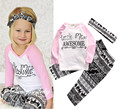 2016 ins baby girl clothing set long sleeve T shirt pants headband 3pcs Infant bebe girl