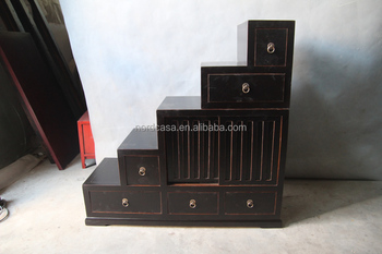 Antique Chinese Step Furniture Black Reproduction Stair Cabinet With Many Drawer