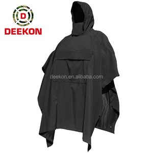 Black Packable Military Army Poncho Raincoat