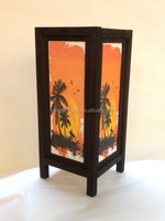 Asian landscape print on paper table lamp from Thailand