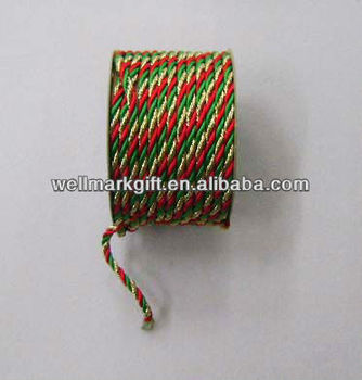 Gift Wrapping Decoration Gold Red Green Three Ply Cotton Twisted Cord Rope  - Buy 3-strand Twisted Cotton Rope,3-strand Twisted Cotton Cord,Colored