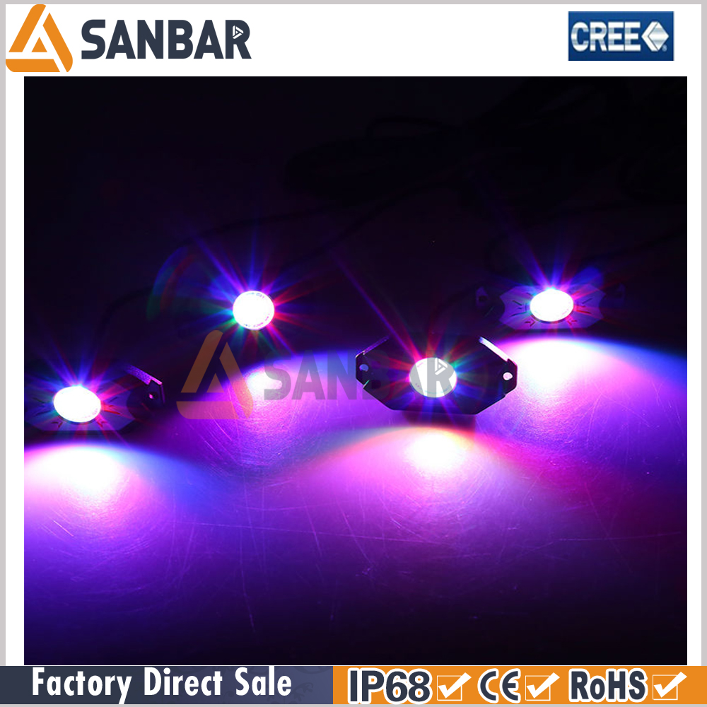 Bluetooth Control 4 Pcs X 9W RGB LED Rock Light under car light