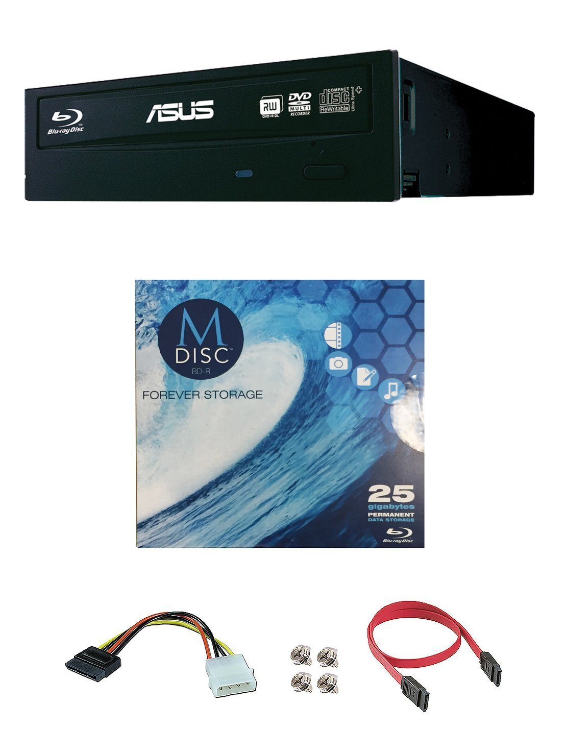 Asus 12x BW-12B1ST Internal Blu-ray Burner Drive Bundle with 1 Pack M-DISC BD and Cable Accessories (Retail Box)