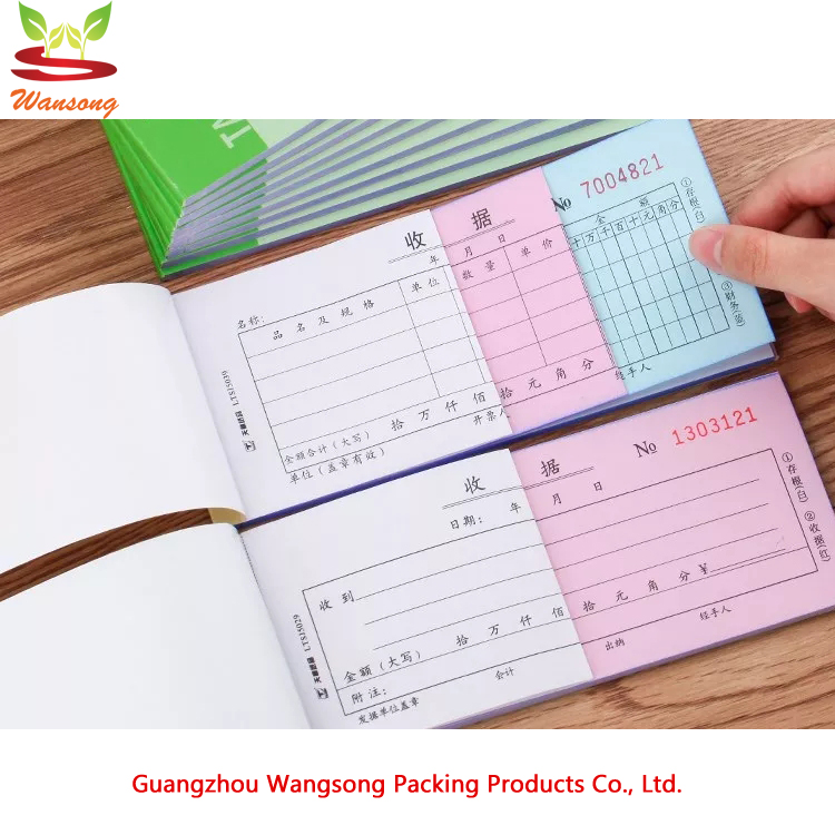 china custom printed A4/A5 NCR paper receipt book , duplicate / triplicate cheap invoice book printing