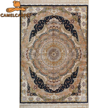 Persian Oriental Blue Beige Rug Hand Knotted Fine Indian Kashmiri Silk Rugs