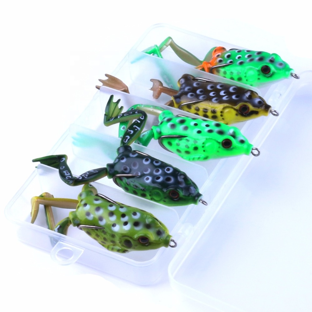 Box Packing 5PCS 55mm topwater soft frog fishing lures set frog bait, 5 colors as picture shown