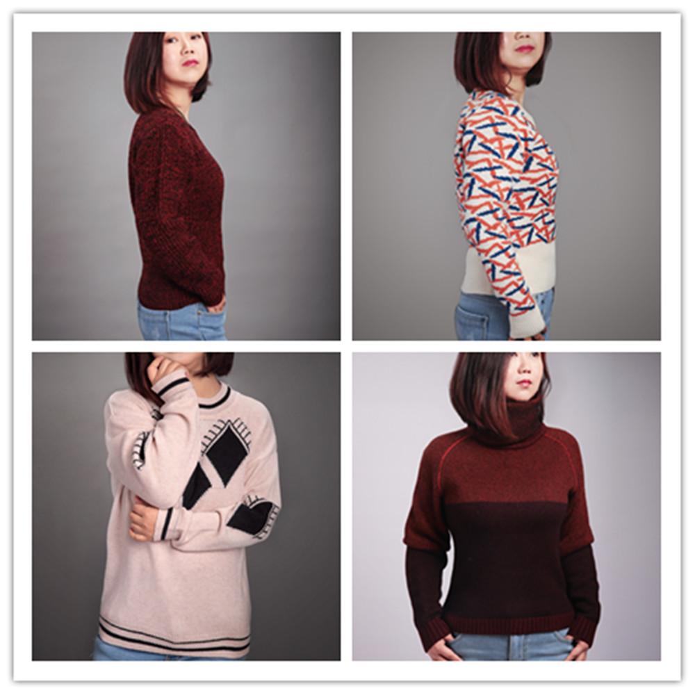 現代のコンピュータニットウールプルオーバーニット女性の冬のセーター
