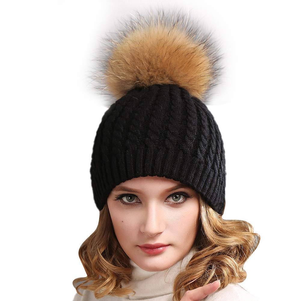 d411a5ea7d9 Get Quotations · FURTALK Women Winter Knitted Pom Beanie Fur Hat Big Pom  Pom Hat Women Crochet Knit Bobble