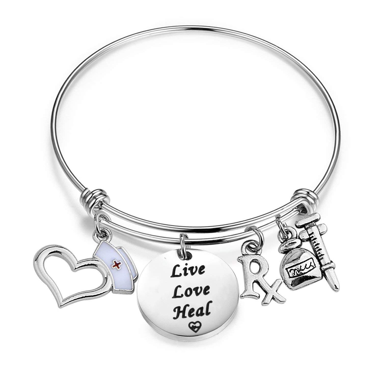 RQIER Pharmacy Jewelry Rx Pharmacist Bracelet Live Love Heal Expandable Wire Bangle with Nurse Hat RX Symbol Pharmacy Charms