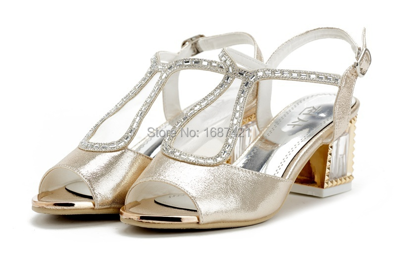 Women Spring & Summer Fashion Leather  Sandals, Fashion  High  Heels  Pumps Size:35-39. White, Gold.