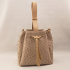 Beige Ostrich pu tote bag with fashionable drawstring closure