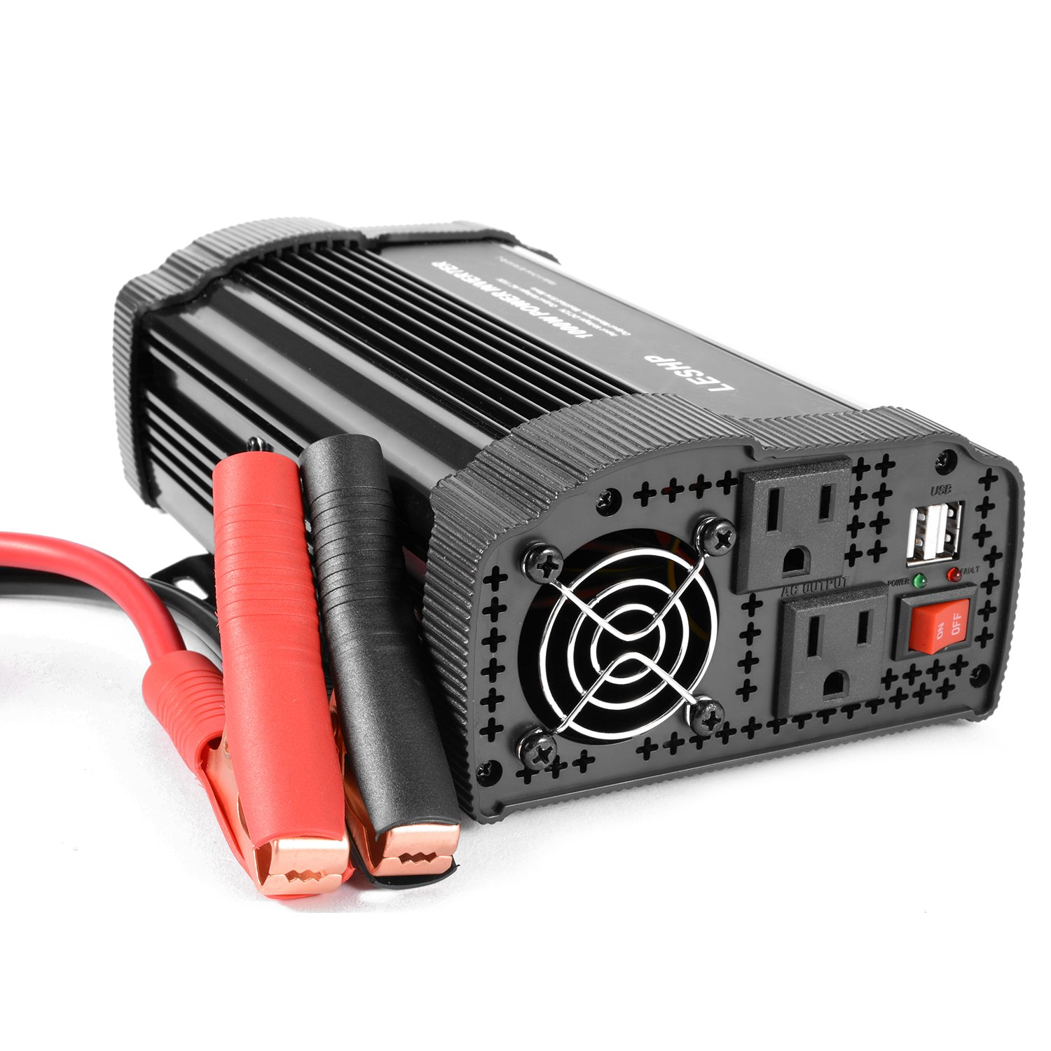 LESHP Power Inverter Converter, 1000W 12V DC To 110V AC Modified Sine Wave Power Inverter Converter