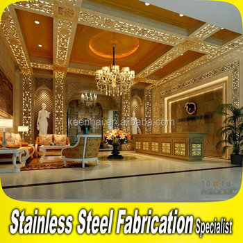 customed design luxury stainless steel interior hotel lobby decoration - Stainless Steel Hotel Design