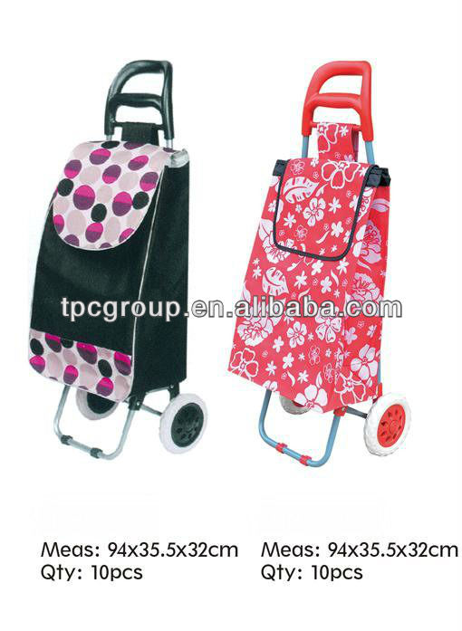outdoor shopping trolley/cart with removable bag and detachable cart and wheels