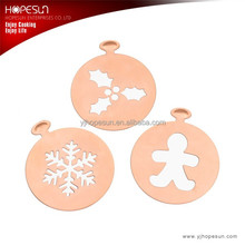 Hot selling 3pcs different pattern christmas series metal coffee stencil set