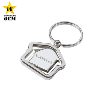 Wholesale Metal Personalized Logos Spin House Shaped Cheap Custom Keychains f9f2711d9