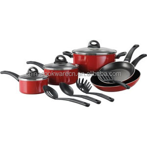 Econimic Aluminum kitchen cooking pots 12pcs healthy non stick cookware set with nylon tools and tempered glass lid