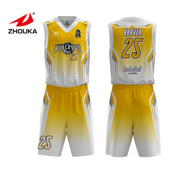 d4cafff3601 printing basketball jersey uniform design color yellow and shorts suit custom  sublimation basketball uniform